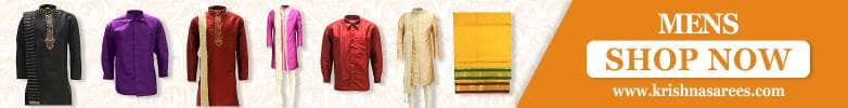 Gold Men's Veshti Dhoti Angavastram Set