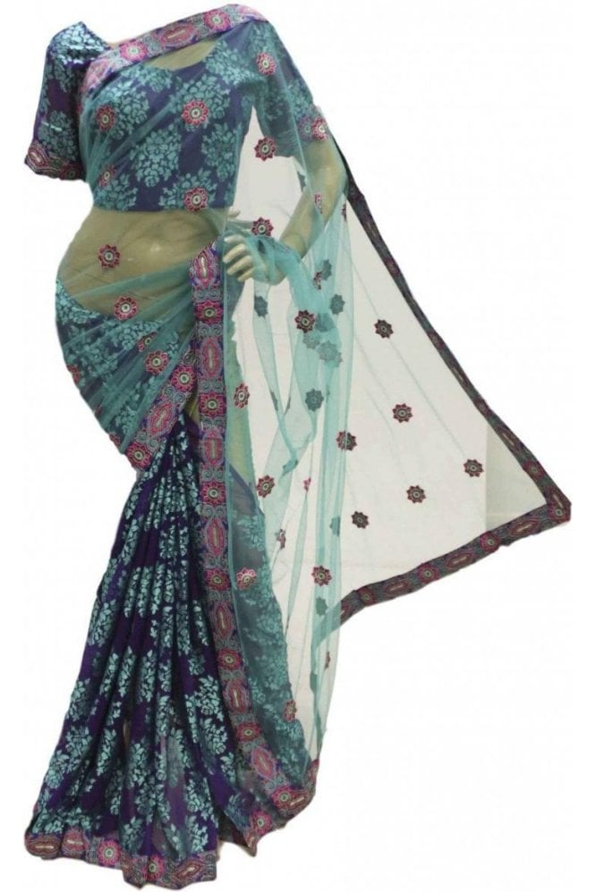 Krishna Sarees RBS18022 Pleasing Teal & Indigo Party Saree