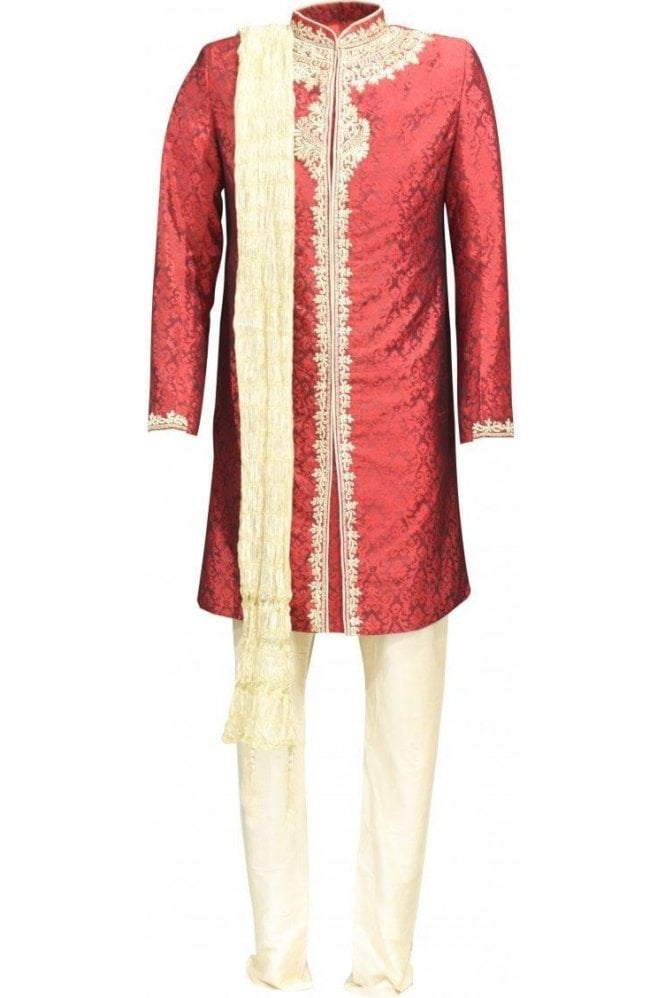 MTS18019 Red and Gold Men's Sherwani Suit