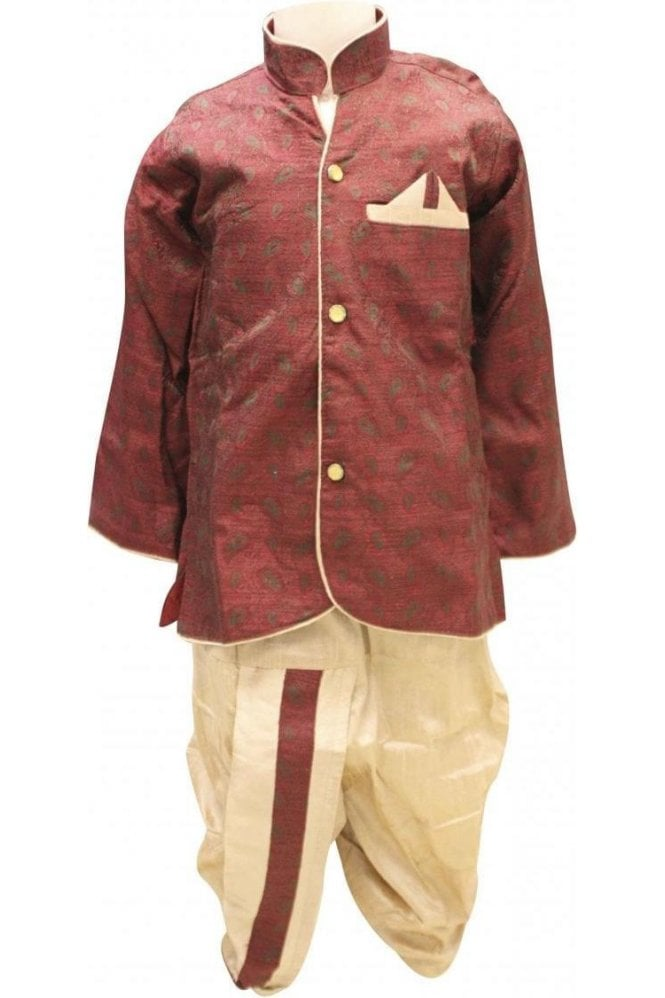 BYK18038BYK2568 Red and Gold Boy's Dhoti Pyjama