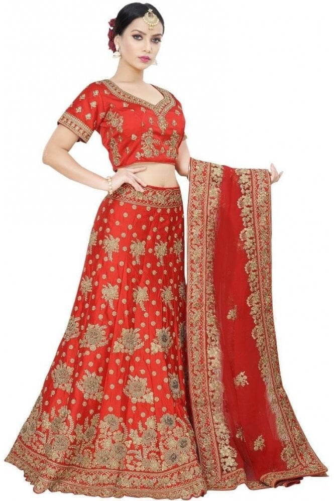Krishna Sarees WBL19032 Latest Red and Gold Bridal / Party Wear Lengha (Semi- Stitched)