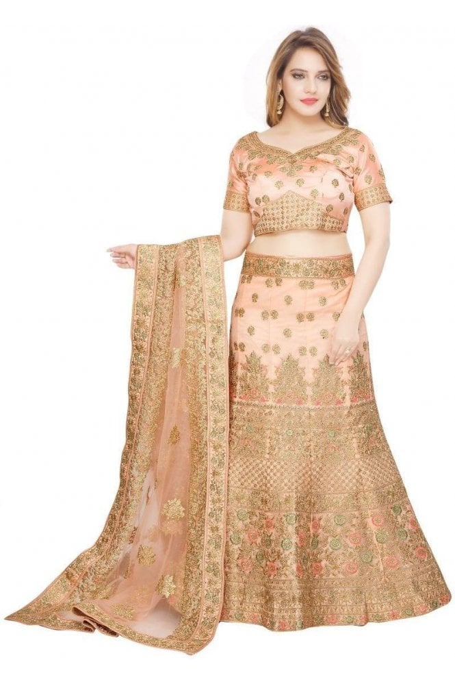 Krishna Sarees WBL19072 Stylish Peach and Gold Bridal / Party Wear Lengha (Semi- Stitched)
