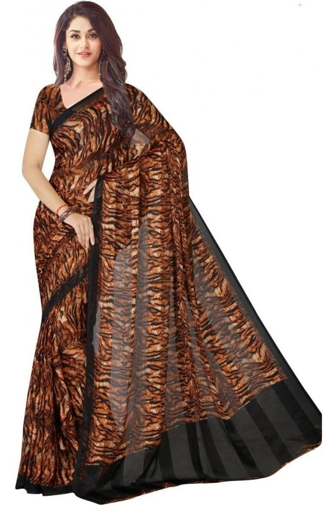 Krishna Sarees PPS19119 Brown  and Black  satin georgette Party Saree