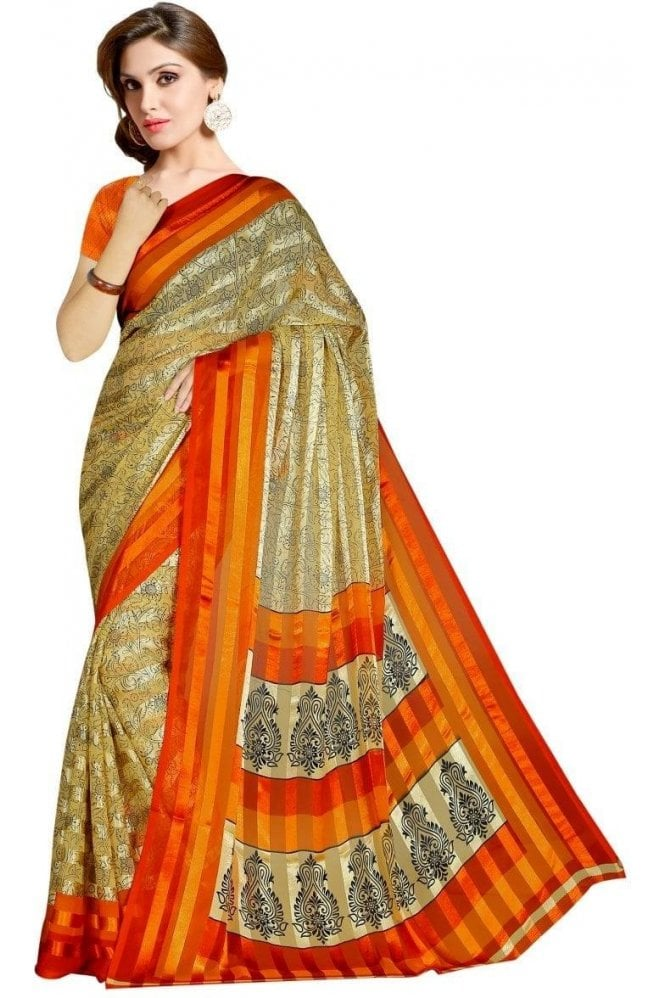 Krishna Sarees PPS19125 Orange  and Beige  satin georgette Party Saree