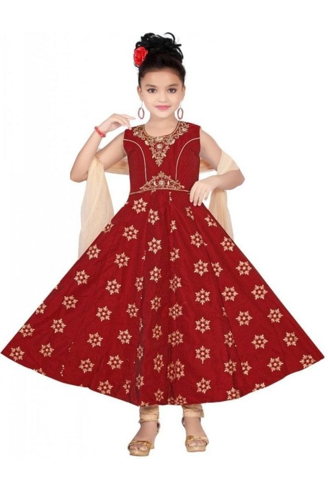 GCS19169 Maroon and Gold Girl's Churidar Suit