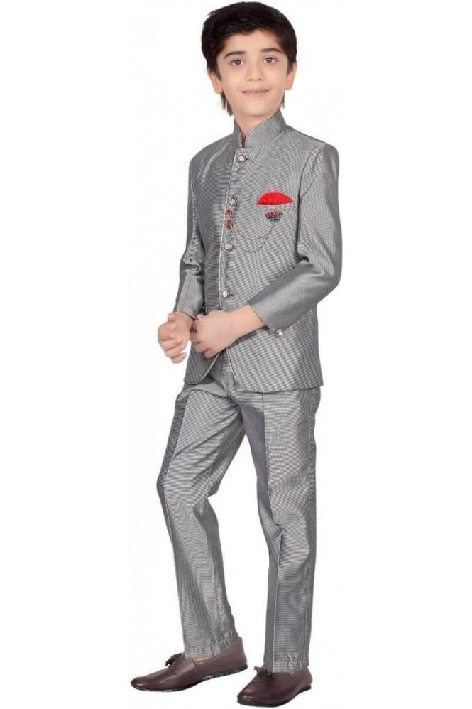 BCS19002 Grey and Silver 2 Piece Boy's Coat Suit