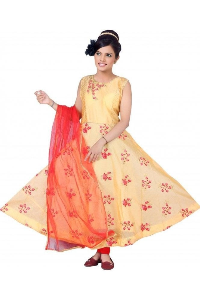 Krishna Sarees WCS19272 Peach  and Red Churidar Suit