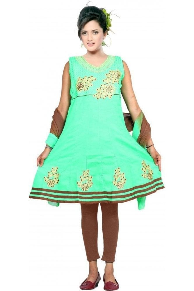 GCS19244 Green and Brown Girl's Churidar Suit