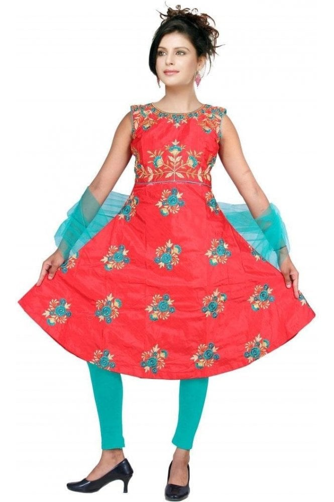GCS19328 Red and Green Girl's Churidar Suit
