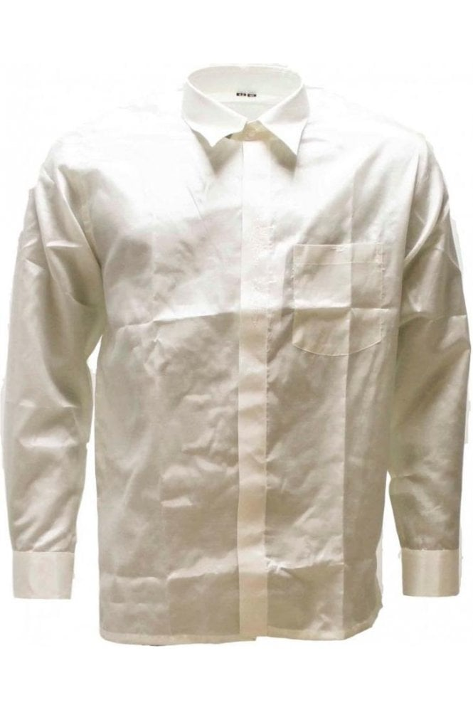 MPS19007 Light Gold Men's Pattu Shirt, Poly Silk Shirt