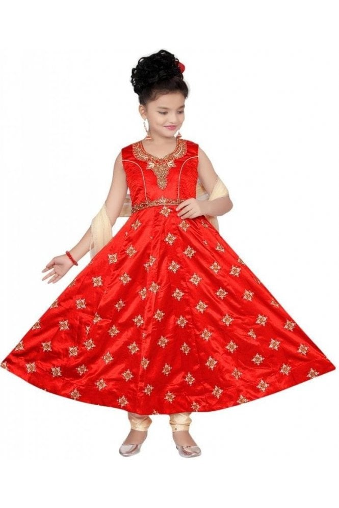 GCS19526 Red and Gold Girl's Churidar Suit