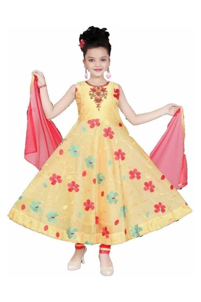 GCS19540 Yellow and peach Girl's Churidar Suit