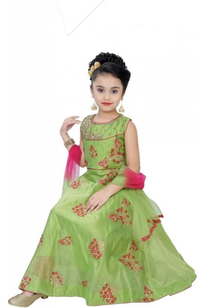 GCS19543 Green and Pink Girl's Churidar Suit
