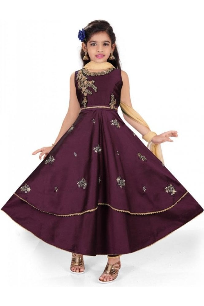 GCS19544 Purple and Gold Girl's Churidar Suit