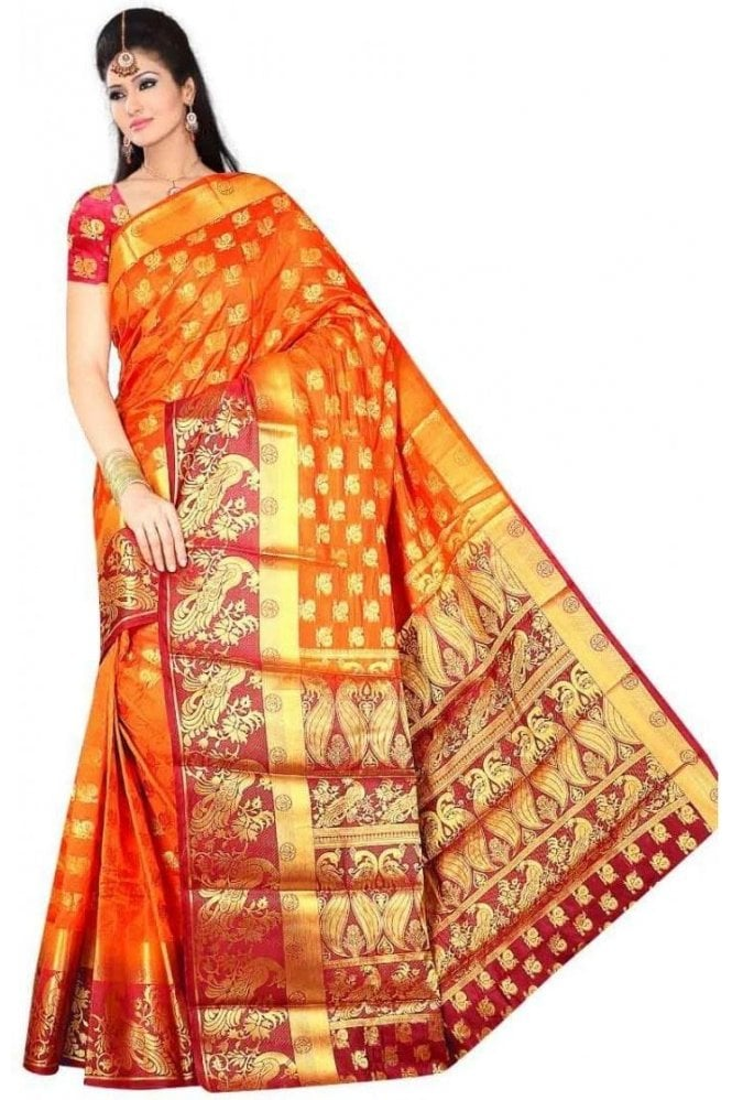APS19262 Mustard and Maroon Fancy Art Silk Party Saree