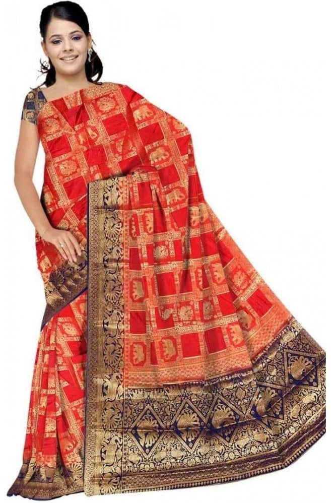 Krishna Sarees APS19280 Rouge Pink and Navy Blue Fancy Art Silk Party Saree