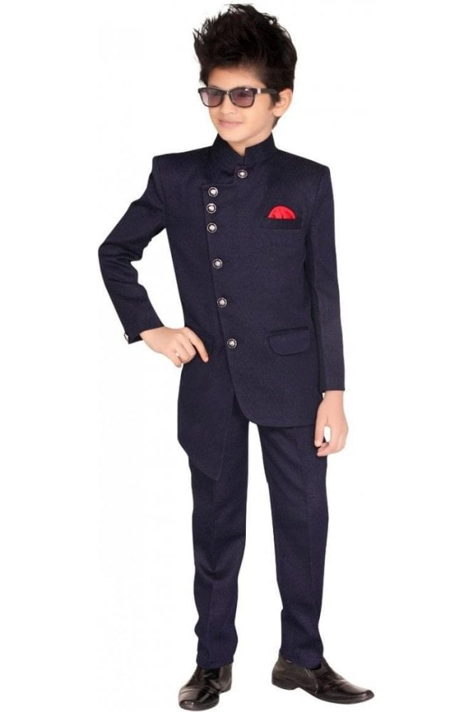 BCS19016 Navy Blue and Red 2 Piece Boy's Indo Western Coat Suit