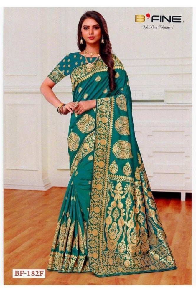BEN19029-182F Jade Green  and Gold Benarasi Art Silk Saree