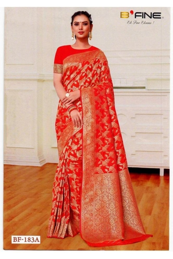 BEN19030-183A Ruby Pink and Gold Benarasi Art Silk Saree