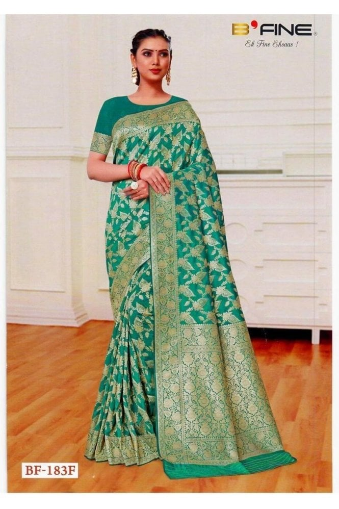 BEN19035-183F Jade Green  and Gold Benarasi Art Silk Saree