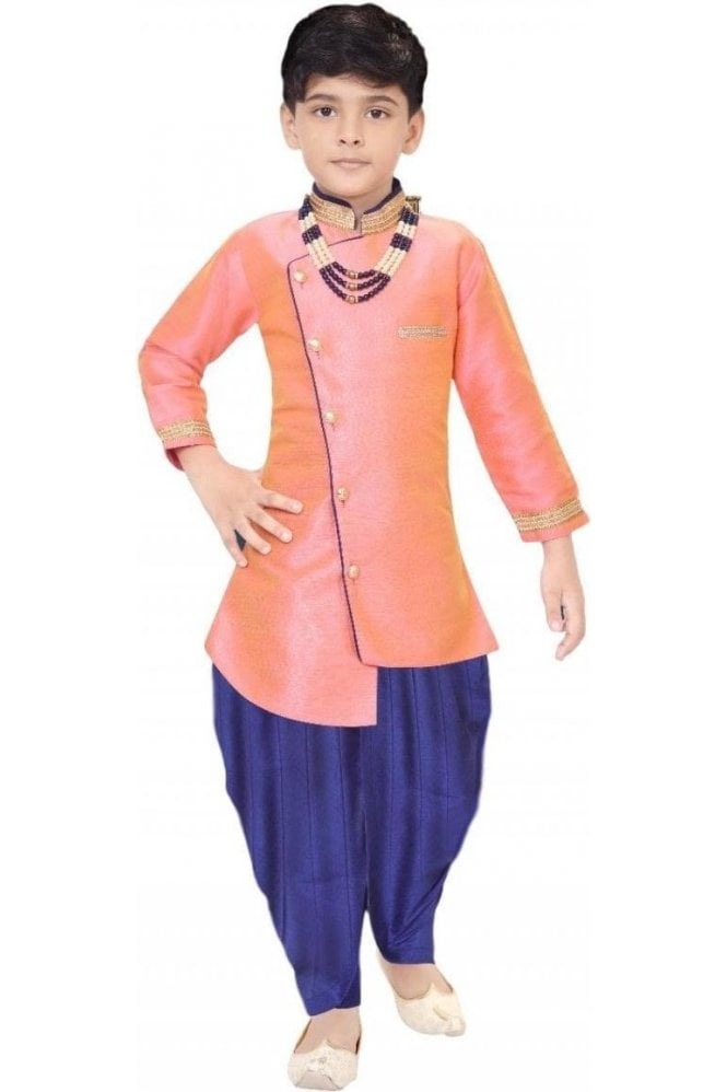 BYK19101 Peach and Navy 2 Piece Boy's Sherwani Dhoti Suit