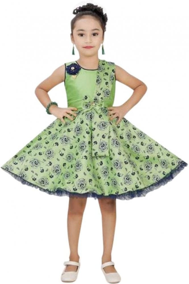 GPF19045 Green and Blue Girl's Party Frock