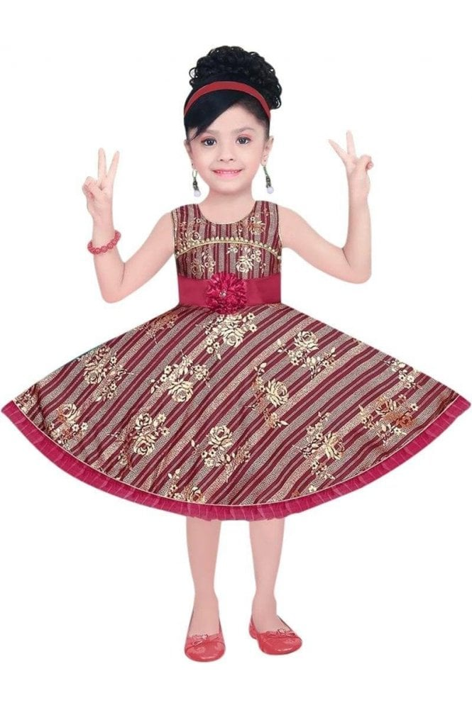 GPF19050 Maroon and Gold Girl's Party Frock