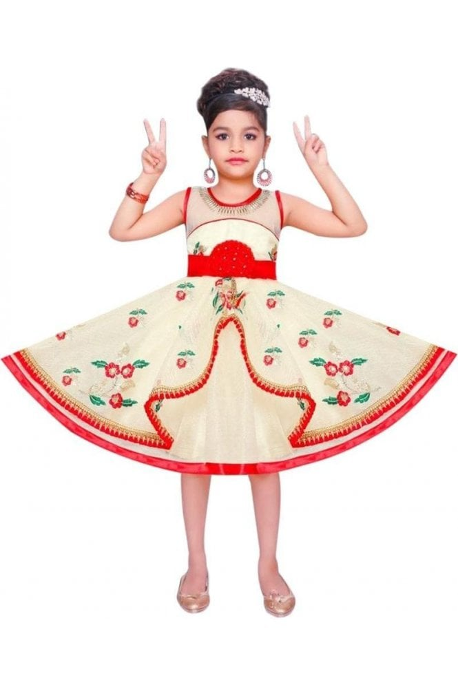 GPF19054 Cream and Red Girl's Party Frock