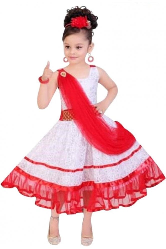 GPF19059 Red and White Girl's Party Frock