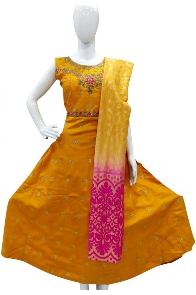 WPD19021 Mustard and Pink Designer Churidar Suit Gown