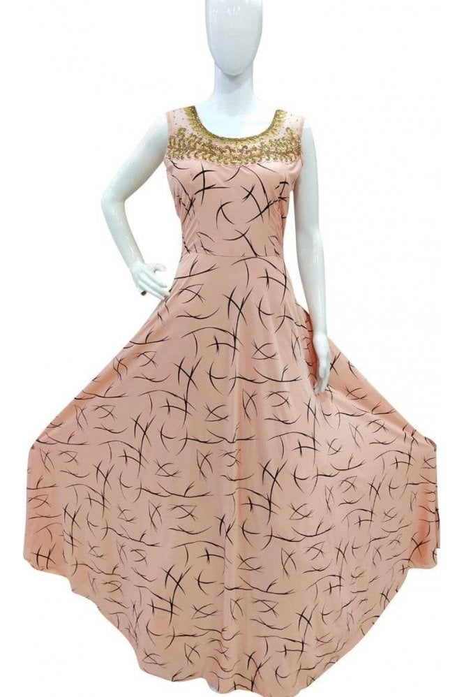 WPD19022 Peach and Gold Designer Churidar Suit Gown