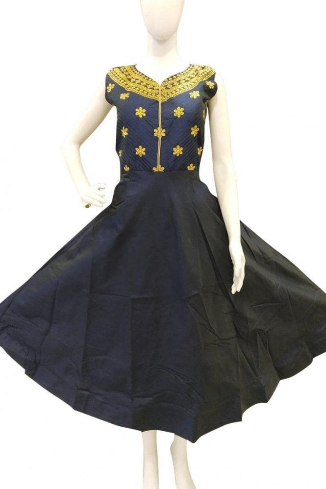 WPD19042 Navy Blue and Gold Designer Churidar Suit Gown