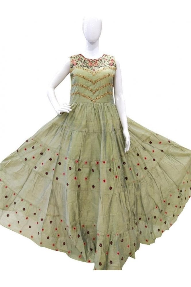 WPD19043 Olive Green and Gold Designer Churidar Suit Gown