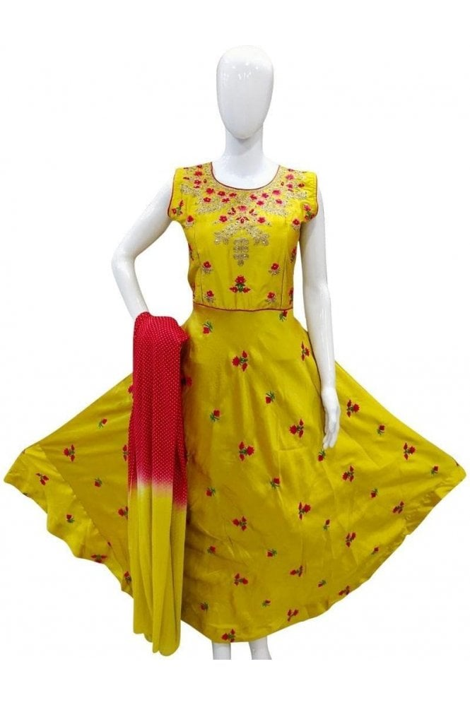 WPD19044 Yellow and Pink Designer Churidar Suit Gown