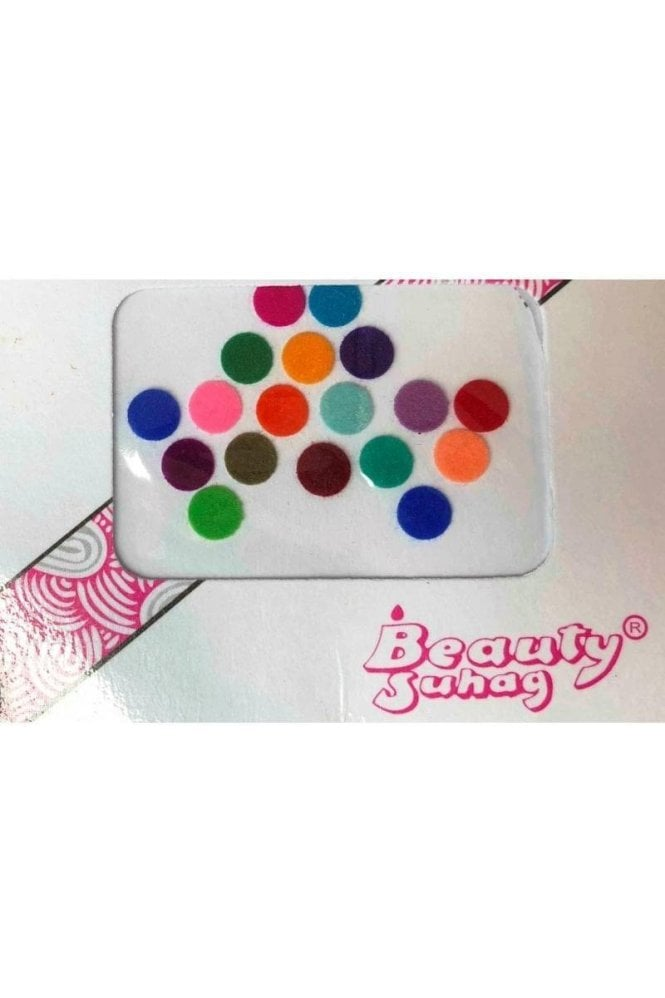 BIN501: Designer Pack of Multicoloured and Plain Dot Bindi's / Tattoos