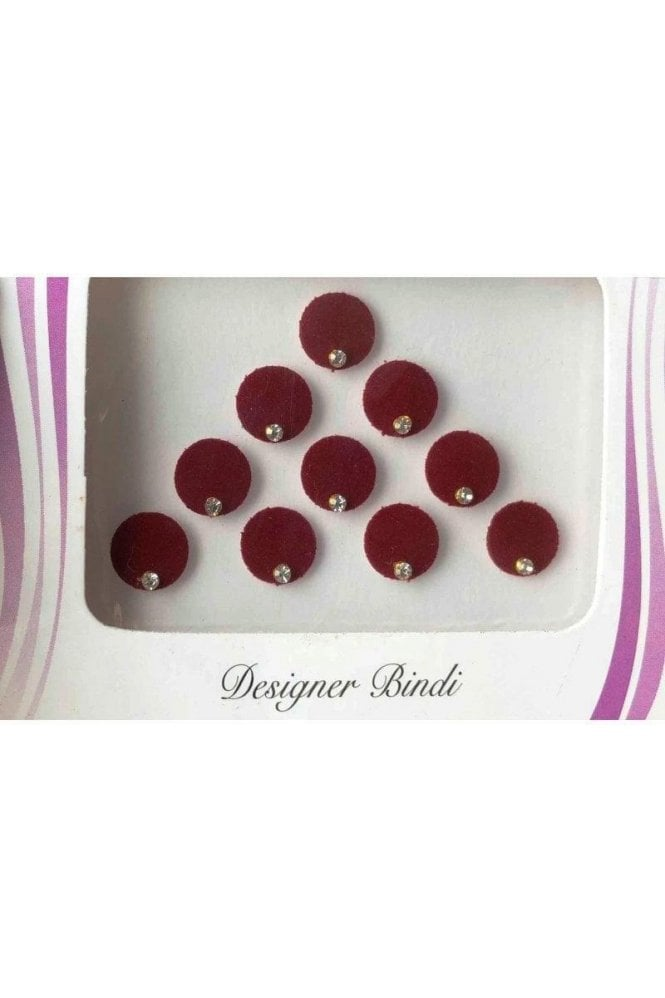 BIN509: Designer Pack of Maroon and Stone Bindi's / Tattoos