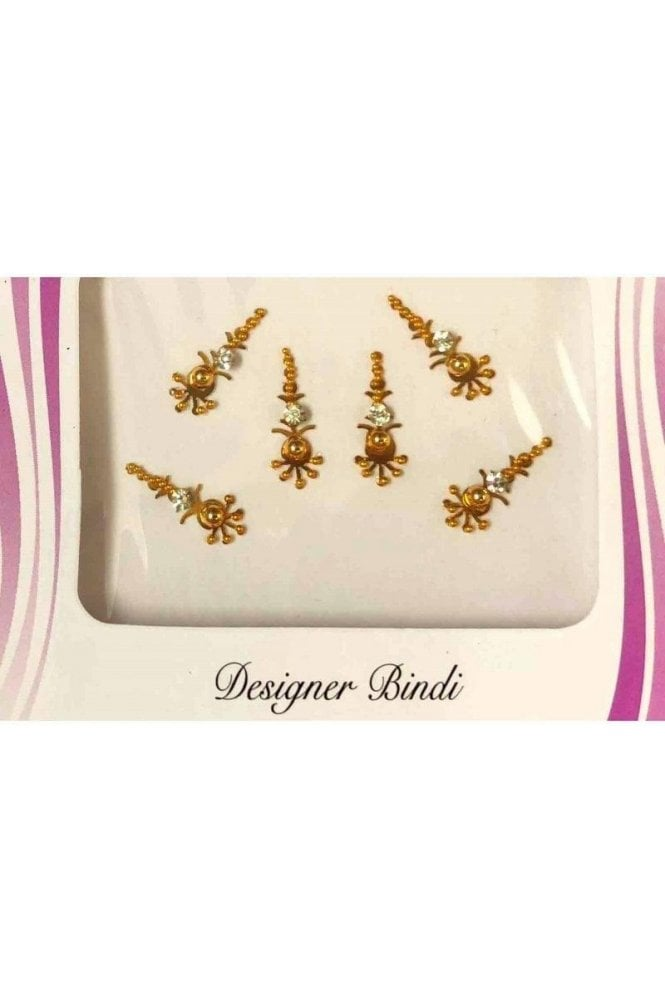 BIN531: Designer Pack of Gold and Stone, Bead and Thread Bindi's / Tattoos