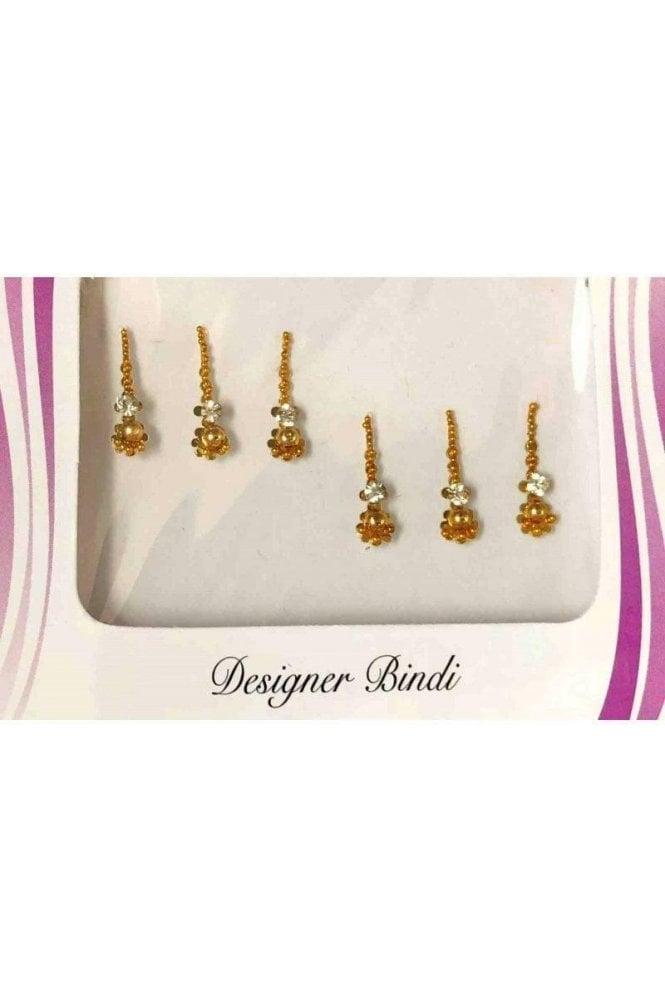 BIN532: Designer Pack of Gold and Stone, Bead and Thread Bindi's / Tattoos