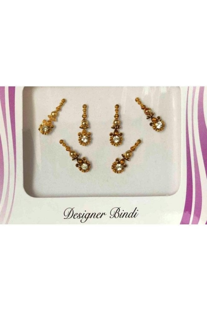 BIN534: Designer Pack of Gold and Stone, Bead and Thread Bindi's / Tattoos