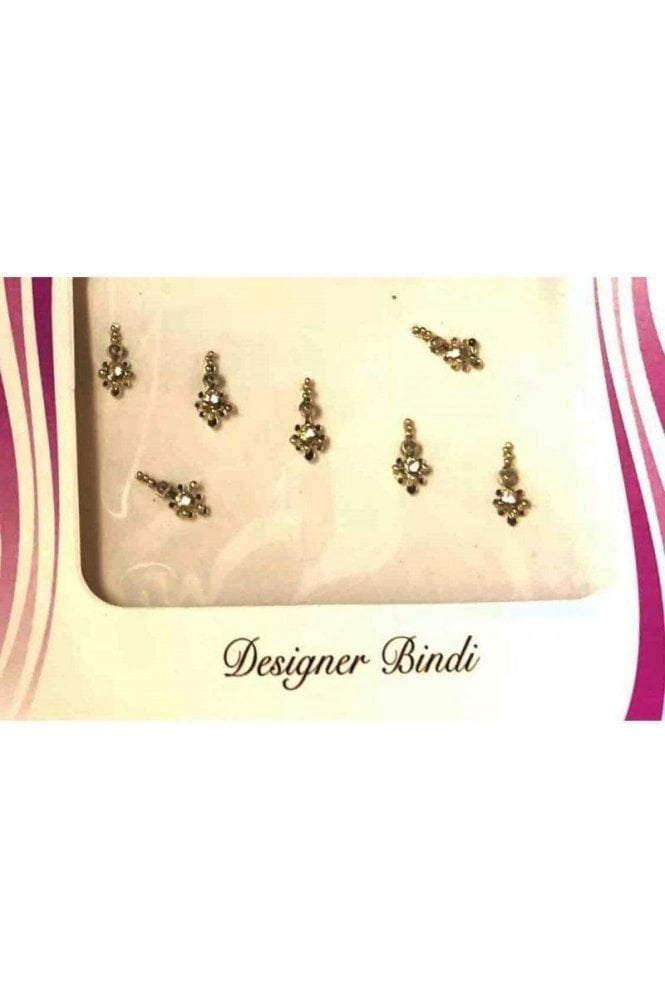 BIN544: Designer Pack of Silver and Stone, Bead and Thread Bindi's / Tattoos