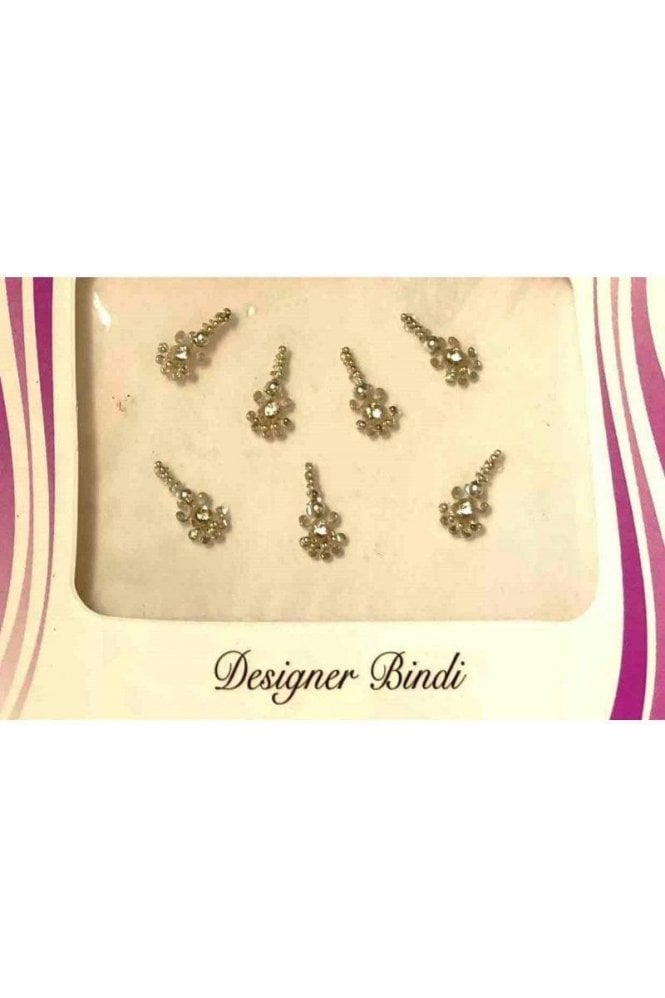 BIN545: Designer Pack of Silver and Stone, Bead and Thread Bindi's / Tattoos