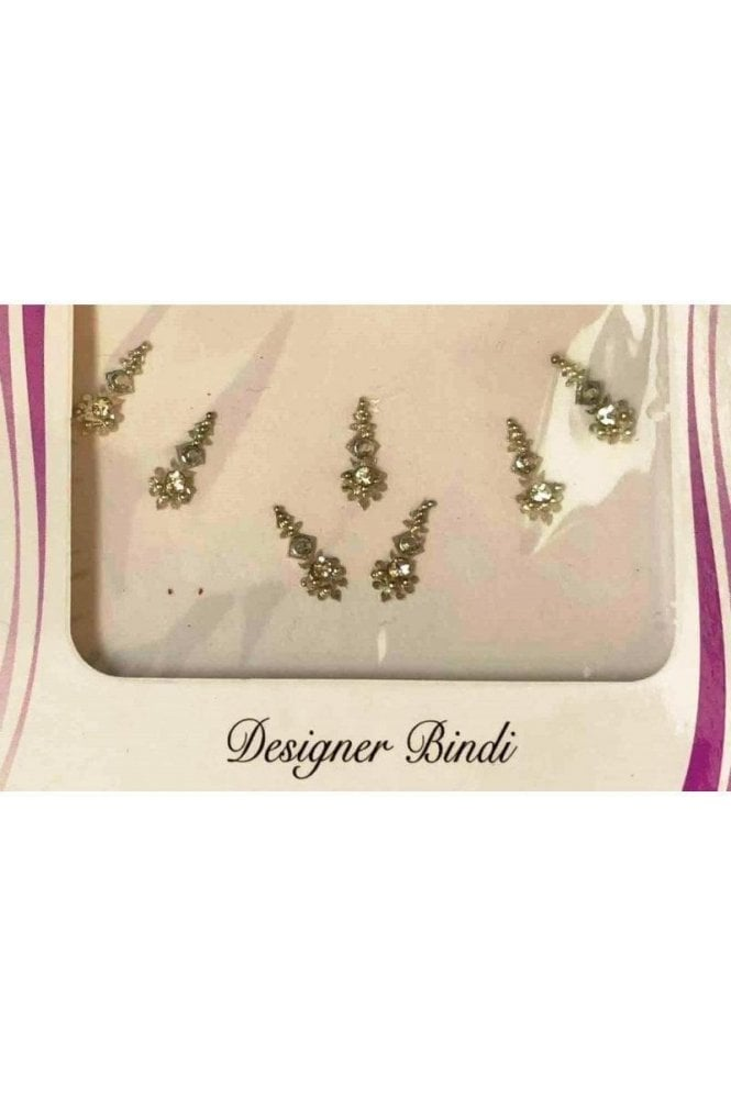 BIN548: Designer Pack of Silver and Stone, Bead and Thread Bindi's / Tattoos