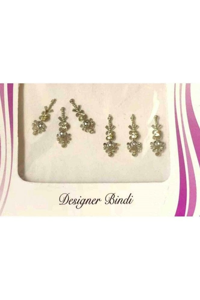 BIN554: Designer Pack of Silver and Stone, Bead and Thread Bindi's / Tattoos