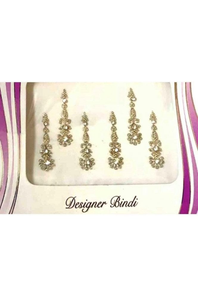 BIN561: Designer Pack of Silver and Stone, Bead and Thread Bindi's / Tattoos