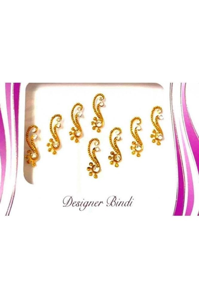 BIN567: Designer Pack of Gold and Stone, Bead and Thread Bindi's / Tattoos