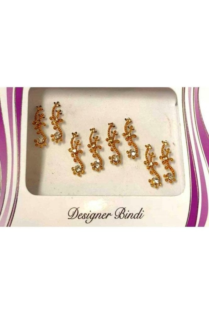 BIN570: Designer Pack of Gold and Stone, Bead and Thread Bindi's / Tattoos