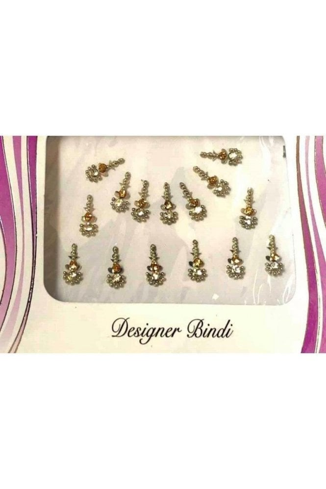 BIN573: Designer Pack of Silver and Stone, Bead and Thread Bindi's / Tattoos