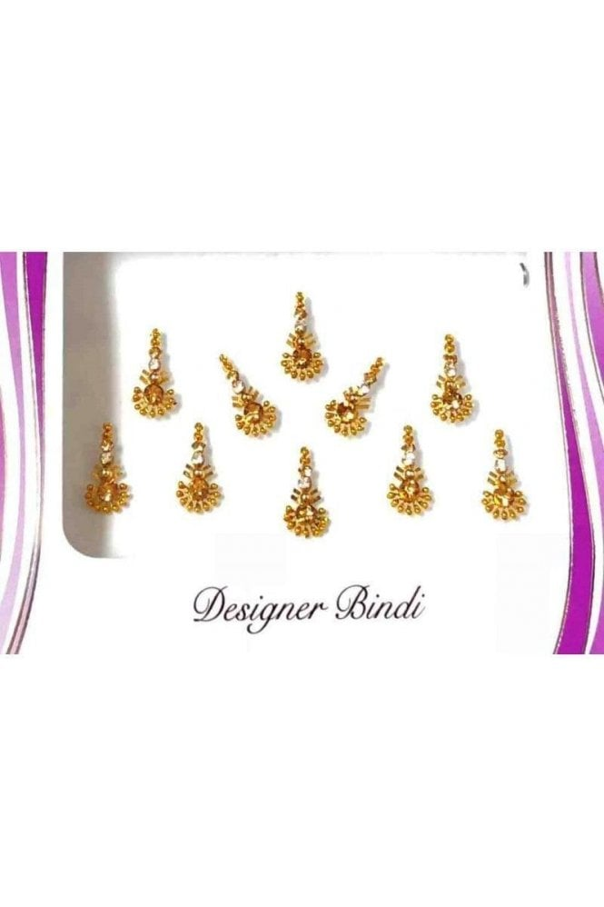 BIN577: Designer Pack of Gold and Stone, Bead and Thread Bindi's / Tattoos