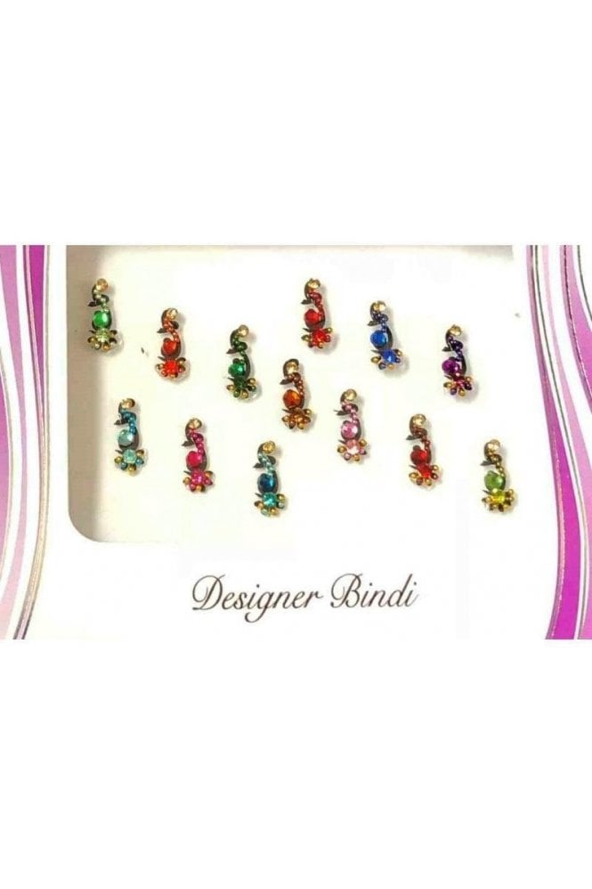 BIN580: Designer Pack of Multicoloured and Stone, Bead and Thread Bindi's / Tattoos