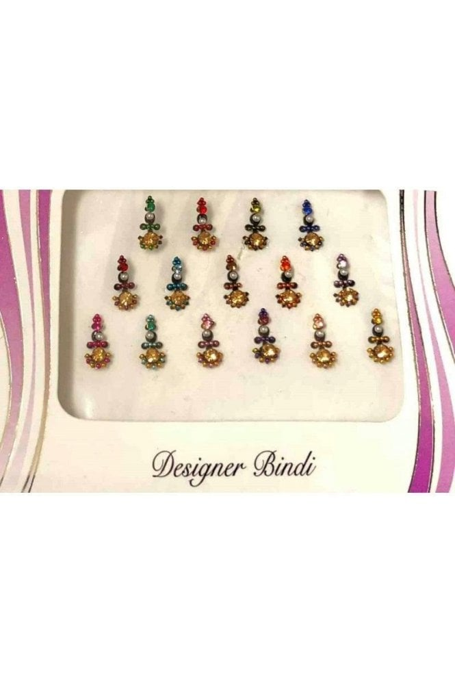 BIN583: Designer Pack of Multicoloured and Stone, Bead and Thread Bindi's / Tattoos